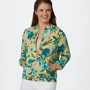 Susan Graver | Floral Printed Woven Bomber Jacket